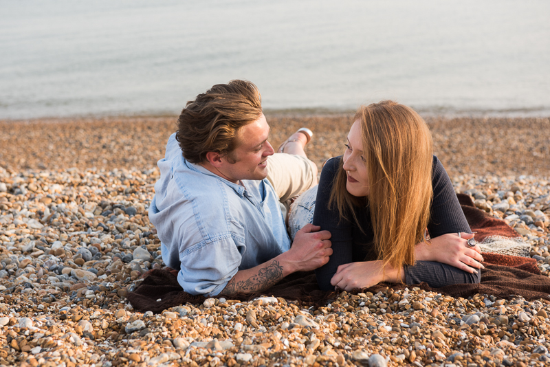 Brighton couple photography - chilling on the beach